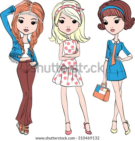 Vector cute fashion hipster girl in summer dress in the style of the sixties - stock vector