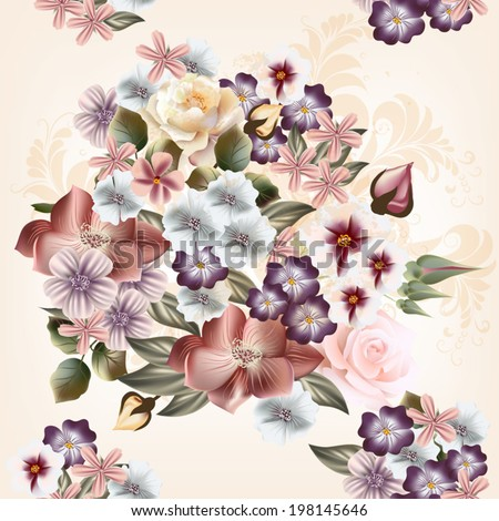 Vector cute flowers in vintage style for design - stock vector