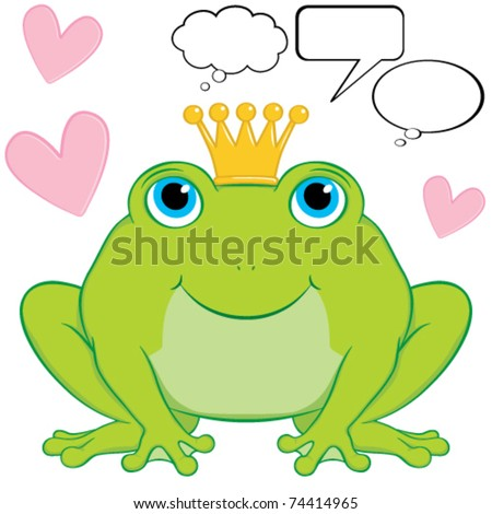 Vector cute frog prince cartoon character sitting wearing a crown.  Surrounding him are hearts to represent love is in the air.  Included are some speech and thought bubbles.  Gradient free. - stock vector