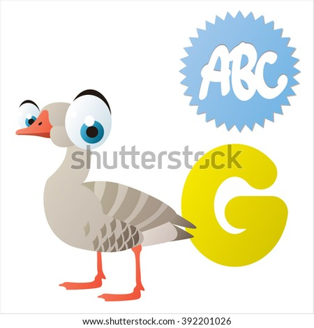 Vector cute funny animals ABC for kids apps or books: G is for Goose - stock vector