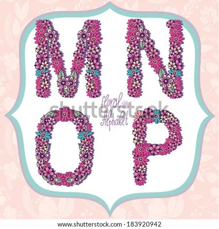 Vector cute gentle Floral alphabet, vintage letters M, N, O, P. - stock vector