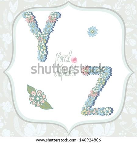 Vector cute gentle Floral alphabet, vintage letters Y, Z. - stock vector