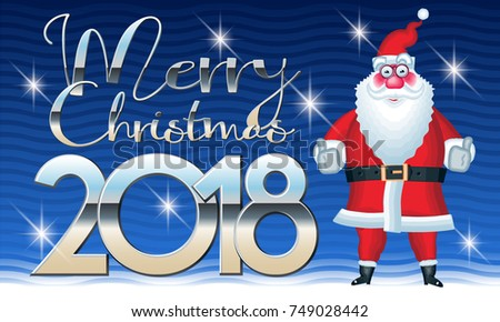 Vector Cute Greeting Card With Funny Santa Claus Saying OK. Merry Christmas  2018 Comic Banner