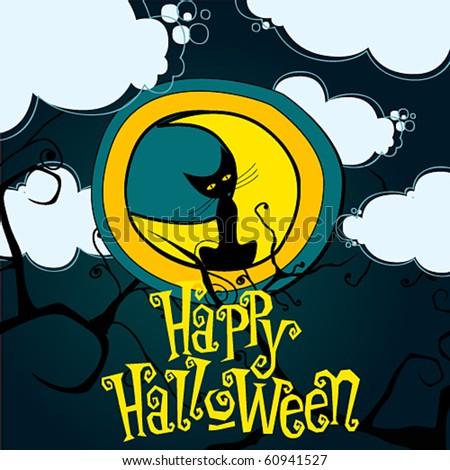 Vector cute Halloween illustration - stock vector