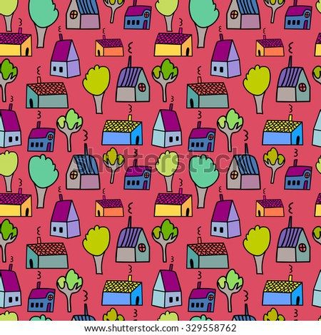 Vector cute hand drawing houses seamless pattern background
