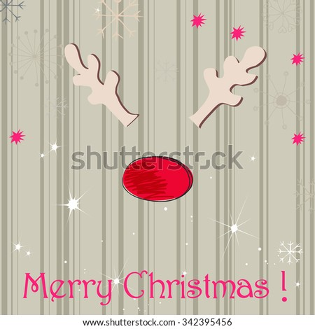 Vector cute hand drawn style Christmas greeting card with reindeer - stock vector