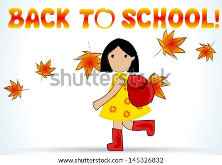 Vector cute hand drawn style illustration of cute girl going back to school - stock vector