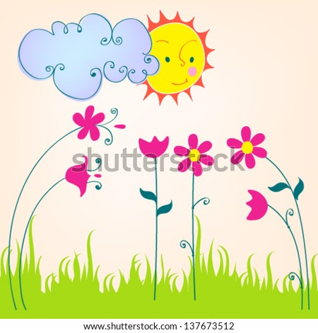 Vector cute hand drawn style illustration of spring meadow with Sun, flowers and cloud