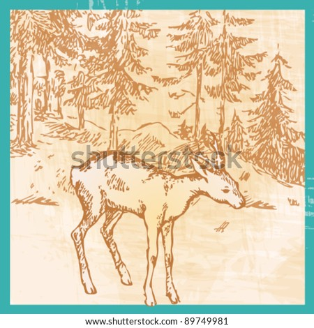 Vector cute, hand drawn style retro illustration of a vintage deer in forest - Christmas greeting card - stock vector