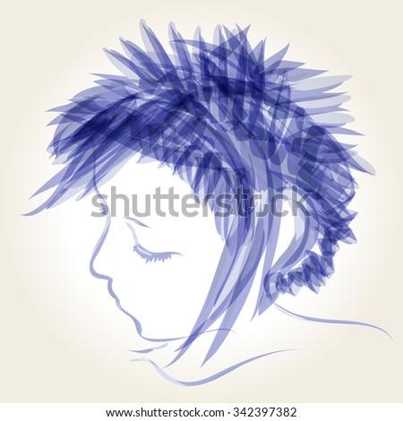 Vector cute, hand drawn style winter girl illustration - stock vector
