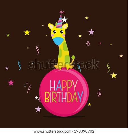 Vector Cute Happy Birthday Card Template Vector 198090899 – Cute Happy Birthday Cards