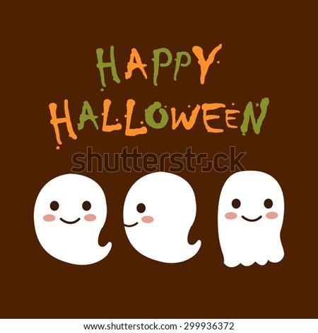 Vector Cute Happy Halloween design template  - stock vector