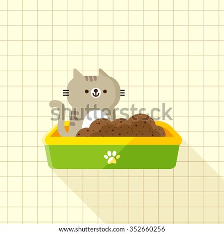 vector cute little cat, tabby kitten in plastic litter / cartoon, flat / green, yellow - stock vector