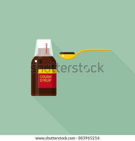 vector cute medicated syrup, cough syrup / brown color bottle with liquid, amber glass, measuring cup / poured into a spoon / cartoon, flat style, long shadow design, icon template - stock vector