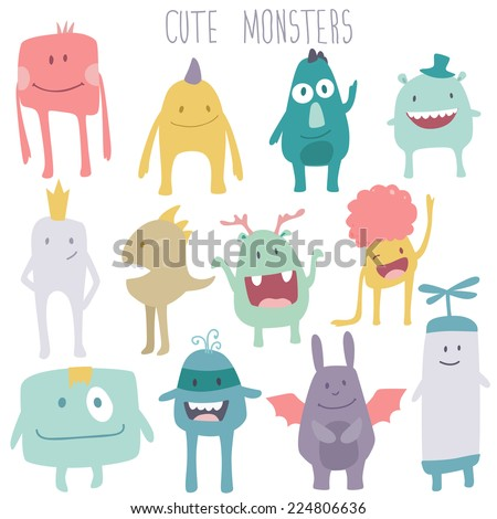 Vector cute monsters set collection isolated on white background - stock vector