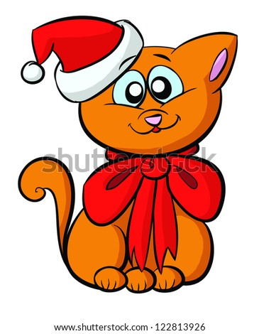 vector, cute, orange, christmas cat with hat