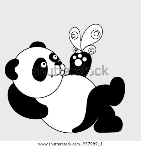 Vector cute Panda with a butterfly - stock vector