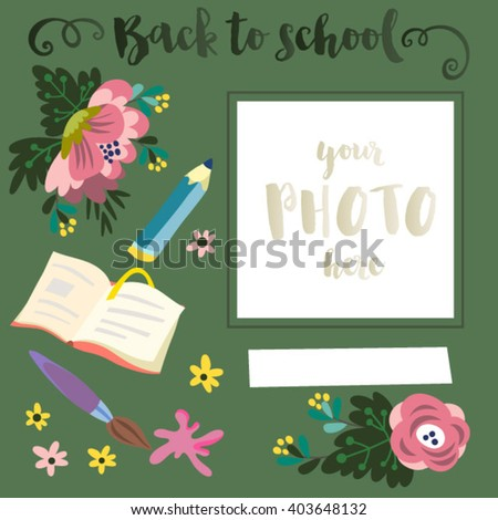 Vector cute photo template