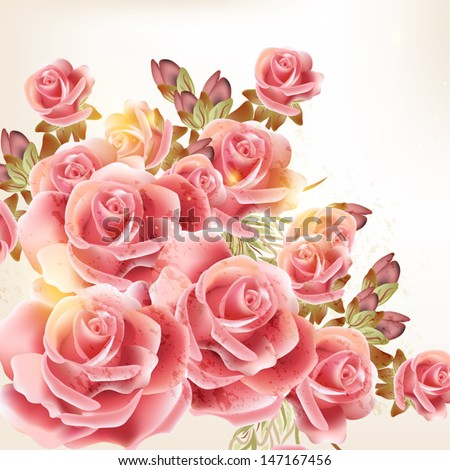 Vector cute pink roses in vintage style for design - stock vector