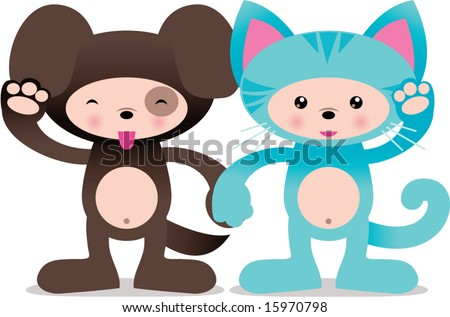 Vector Cute Puppy Dog Kitty Cat Stock Vector 15970798 Shutterstock