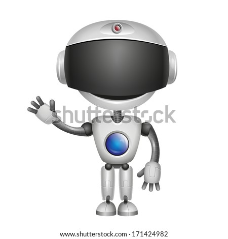 Vector Cute Robot Isolated on white background