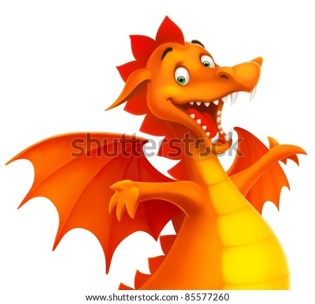 vector cute smiling happy dragon as cartoon or toy isolated on white - stock vector