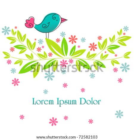 Vector cute spring bird illustration - stock vector