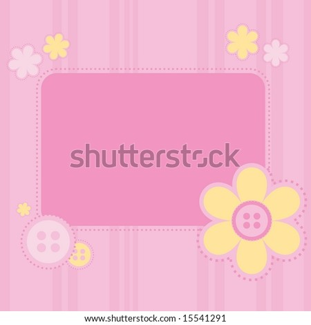 Vector cute striped background with flowers and stitching and buttons. Scrapbooking. - stock vector
