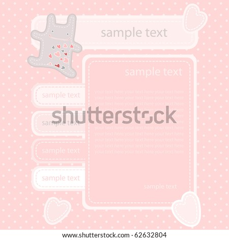 vector cute website template with funny bunny in love - stock vector