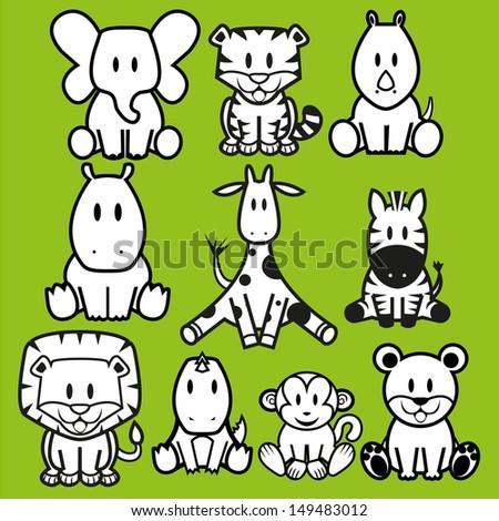Vector Cute Wild Animals set - stock vector