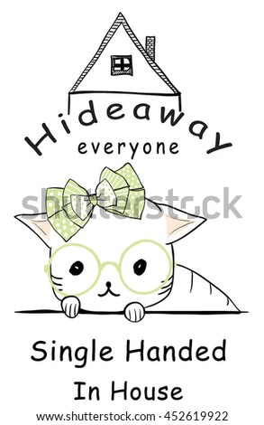 vector cutie cat in the house and illustration vector graphic for t shirt and tee - stock vector