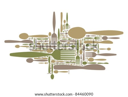 Vector cutlery cloud - stock vector