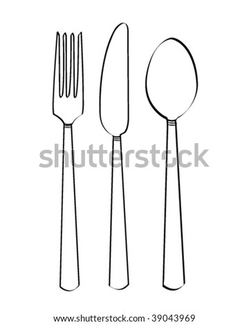 vector cutlery illustration - stock vector