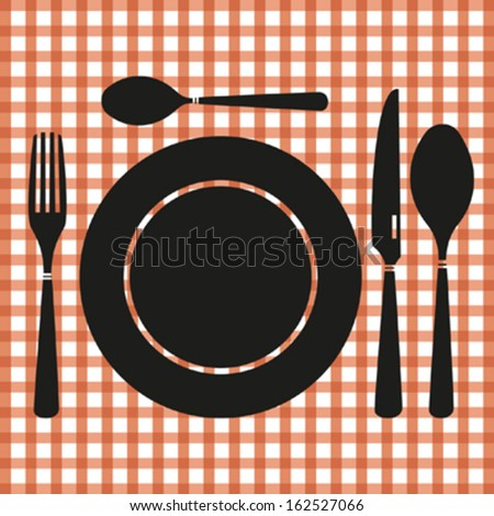 Vector cutlery on red checkered tablecloth  - stock vector