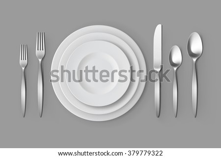 Vector Cutlery Set of Silver Forks Spoons and Knifes with Plates Top View Isolated on Background. Table Setting