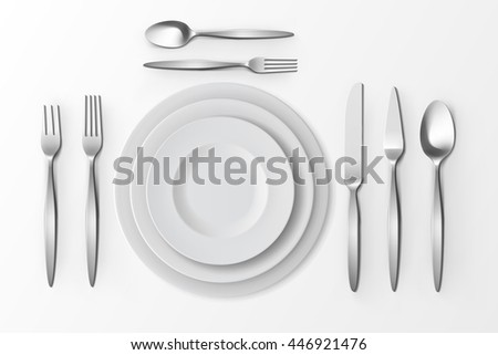 Vector Cutlery Set of Silver Forks Spoons and Knifes with Plates Top View Isolated on White Background. Table Setting - stock vector