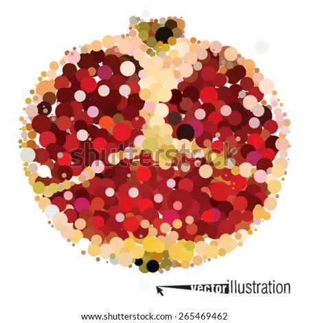 Vector cutout pomegranate consists of circles. - stock vector
