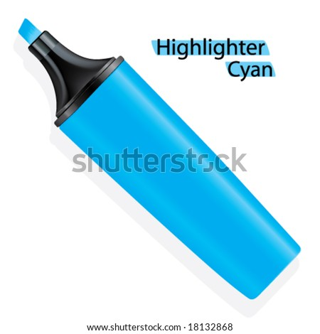 Vector Cyan Highlighter (Space on side for branding)
