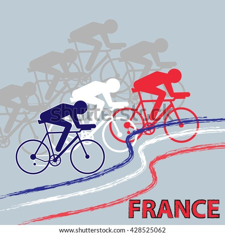 Vector cycling illustration - banner with abstract figure of cyclist on a bicycle. Cycle sport t-shirt print template with sportsmen in colors of France national flag