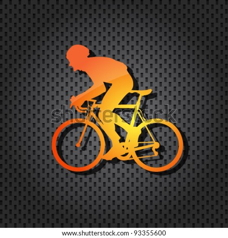 vector cyclist orange icon on textured background - stock vector