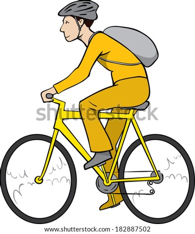Vector cyclist, young man with helmet and backpack riding bicycle - stock vector