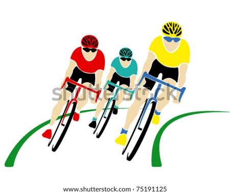 Vector cyclists - stock vector