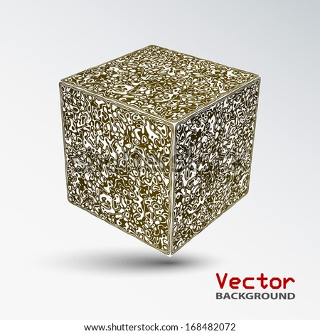 Vector 3d abstract background. Cube.