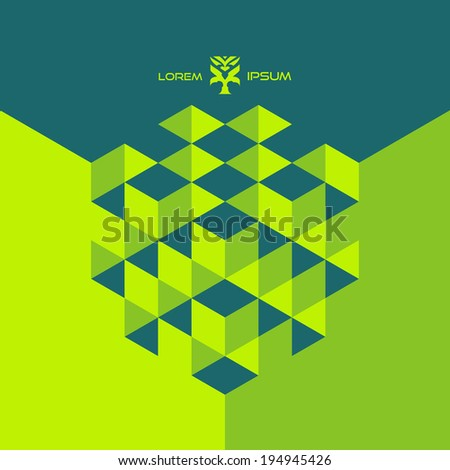 Vector 3d abstract cubes.  Colorful template. Can use for business concept, education , brochure object.   - stock vector