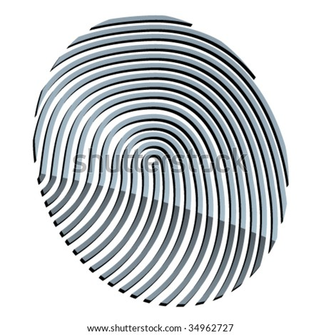 vector 3d abstract fingerprint - stock vector