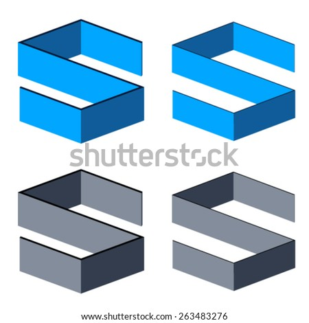 vector 3D abstract letter S symbols - stock vector