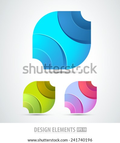 Vector 3d abstract logo design elements. Origami. Corporate identity. - stock vector