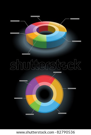 Vector 3d and 2d pie chart. All elements are layered separately in vector file. - stock vector