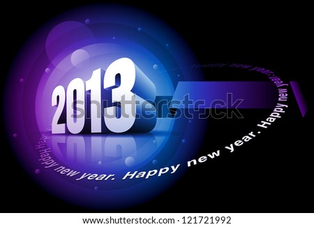 """Vector 3d 2013 and """"Happy New Year"""" text. Elements are layered separately in vector file. - stock vector"""