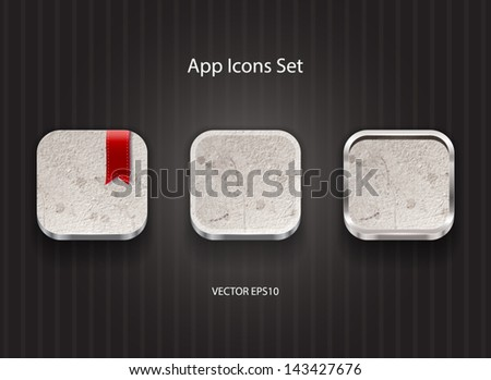 Vector 3d app icons with grungy concrete texture - stock vector
